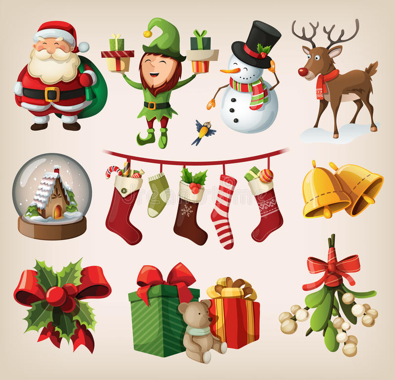Set of characters and decorations. Set of colourful christmas characters and decorations vector illustration