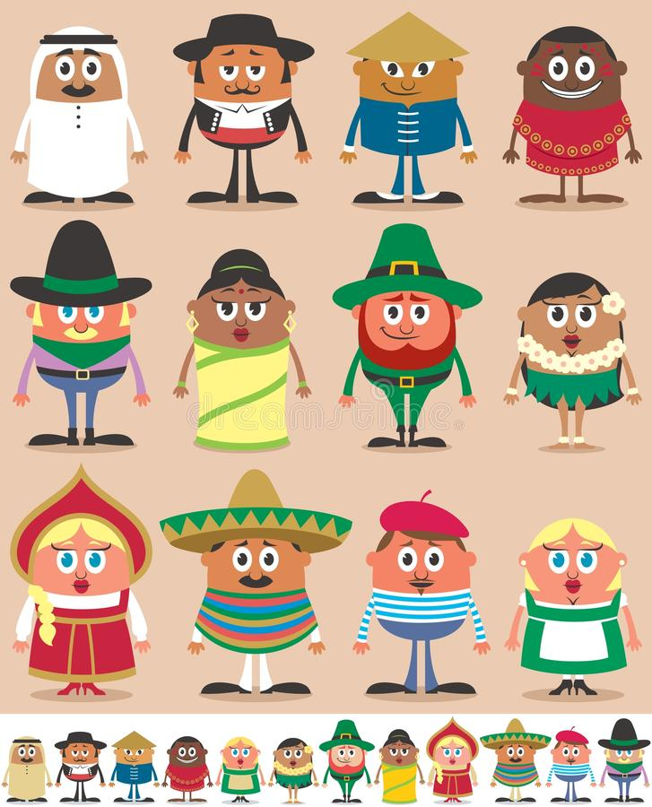 Nationalities Part 1 royalty free illustration