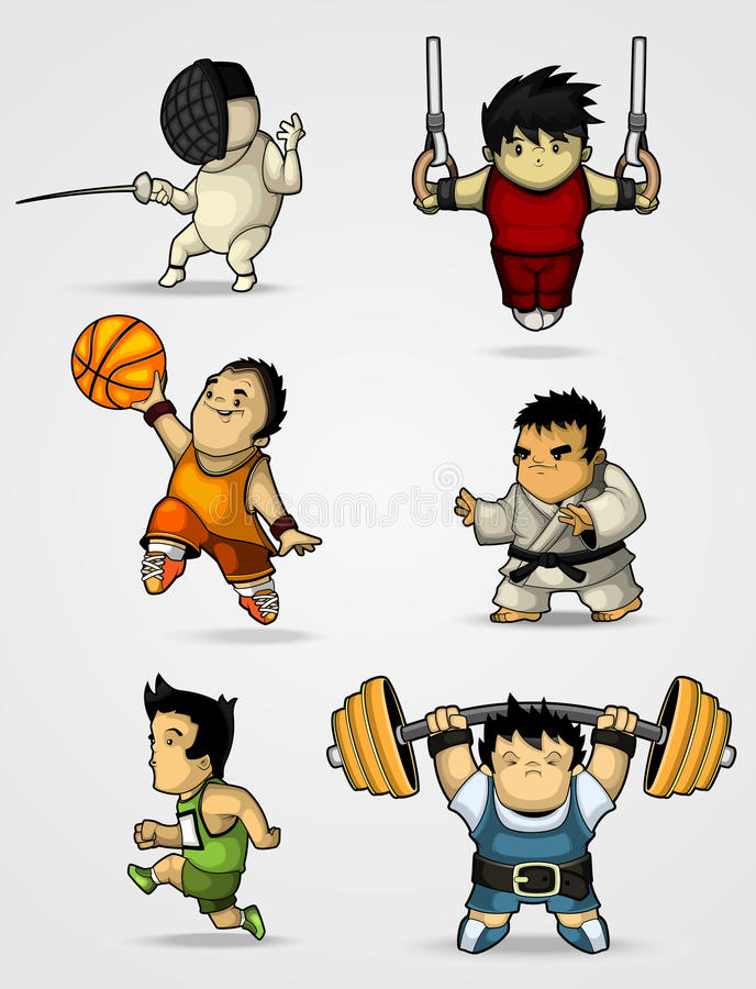 Download Set Of Characters Engaged In Various Sports Stock Vector - Image: 26137371
