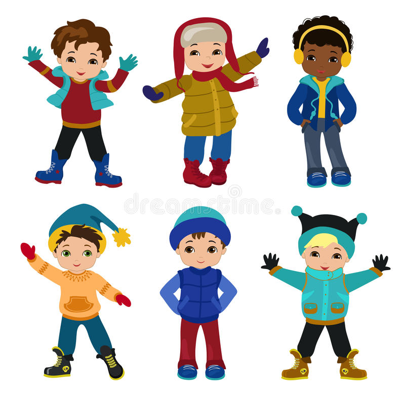 Set of characters funny boys in winter. Vector illustration on white background stock illustration