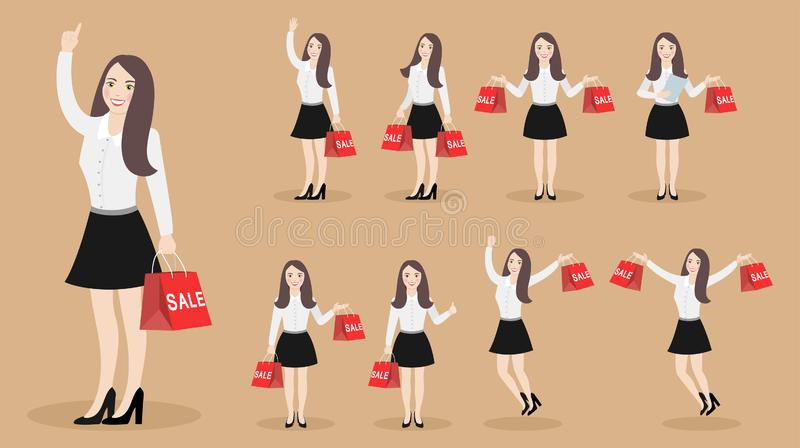 Set of characters happy girl with purchases with sales. stock illustration