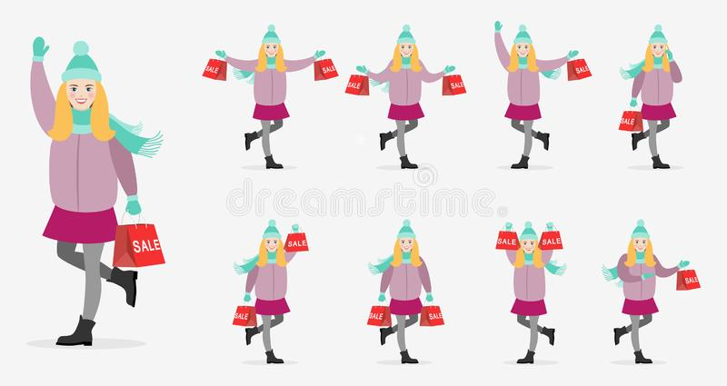 Set of characters happy girl in winter clothes with bag. vector illustration