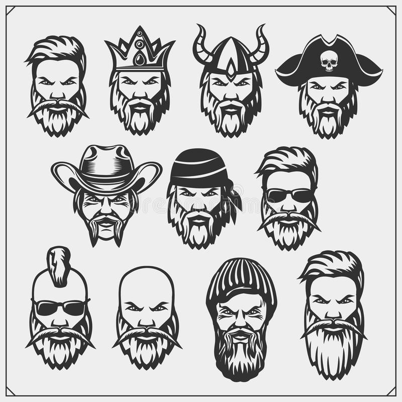 Set of characters. Hipsters and pirate, lamberjack and king, viking, sheriff. Vector set of characters. Hipsters and pirate, lamberjack and king, viking royalty free illustration