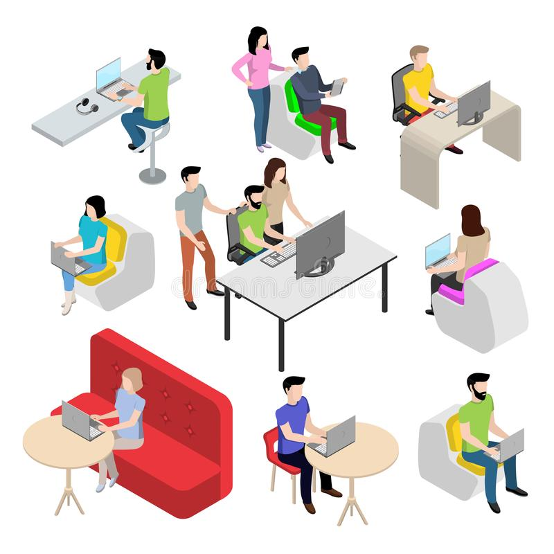 Set of characters in the isometric style, people work at the computer. Modern young people in the office vector illustration