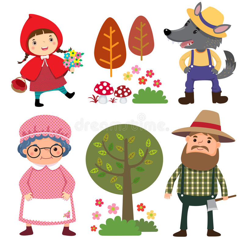 Set of characters from Little Red Riding Hood fairy tale royalty free illustration