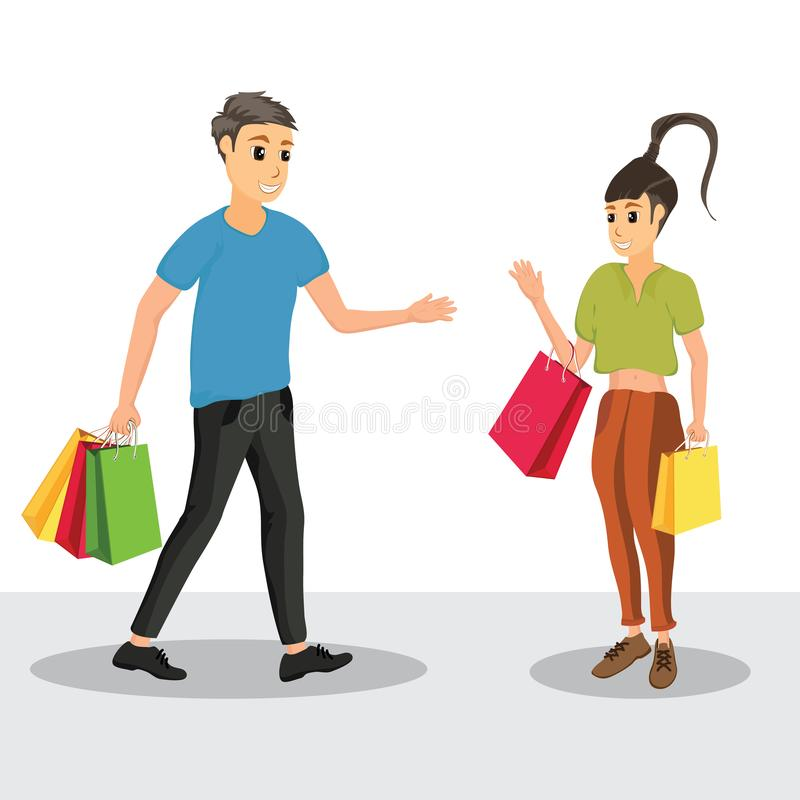 Set of characters, men and women, shopping. stock illustration