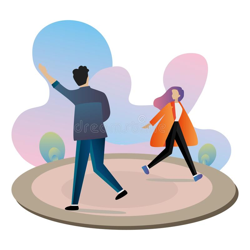 Set of characters, men and women, shopping and waving to greet each other vector illustration