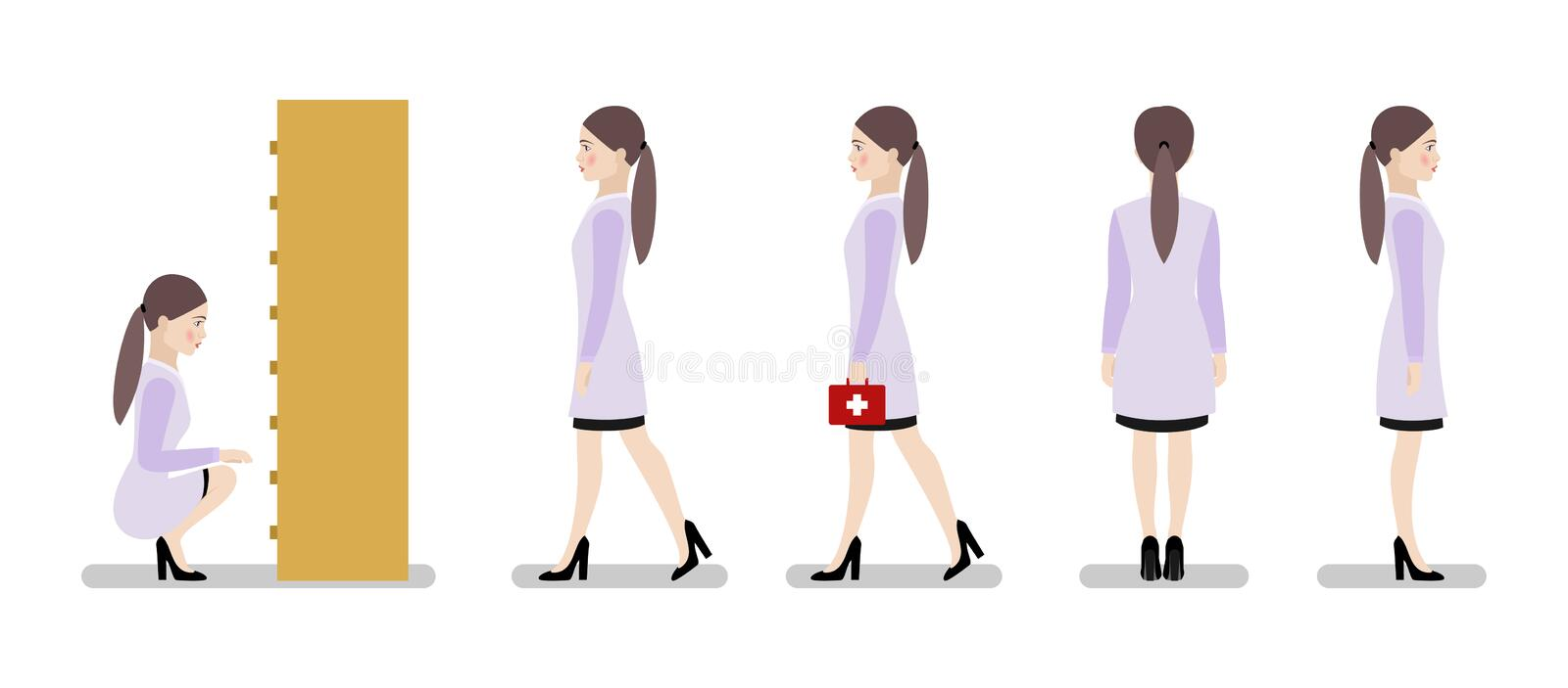 Set of characters nurse with a first aid kit in various poses on a white background. vector illustration