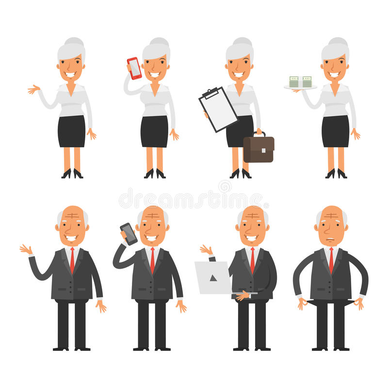 Set characters old business woman businessman. Vector Illustration, Set characters old business woman businessman, format EPS 8 vector illustration
