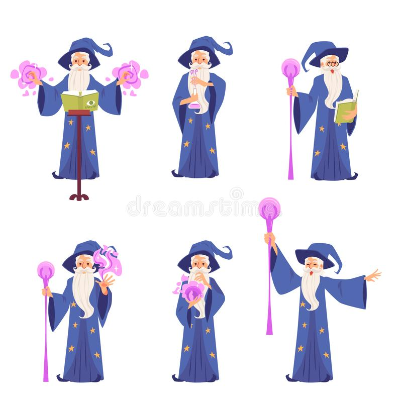 Set of characters of old magic wizard man with a hat and a beard, vector concept of magic. stock illustration