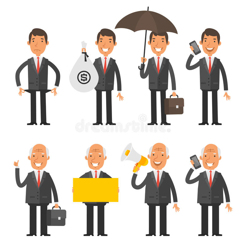 Set characters old and young businessman. Vector Illustration, Set characters old and young businessman, format EPS 8 stock illustration