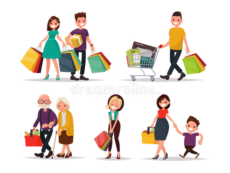set of characters and people shopping vector illustration of a rh dreamstime com shopping victor ny shipping victoria's secret