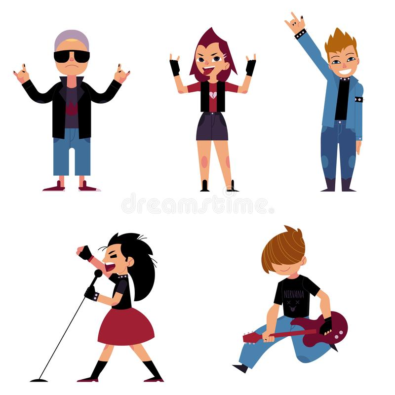 Set of characters of teenagers who play and sing rock music vector illustration