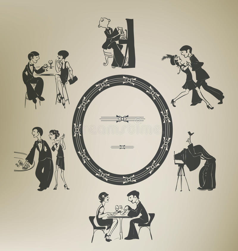 Set of characters in vintage party activities. royalty free stock photography