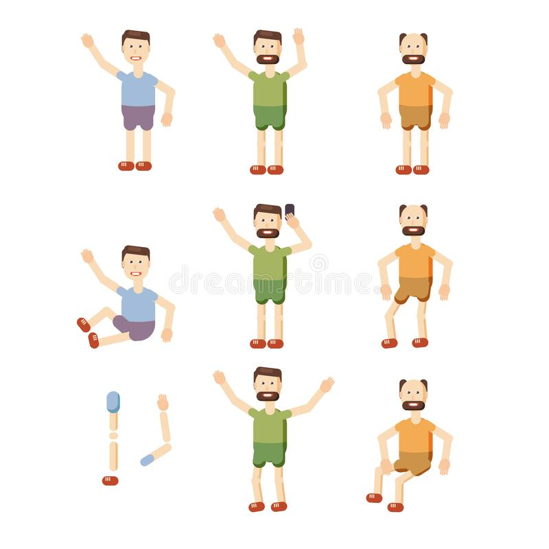 Set of characters young, bearded, elderly, man, emotion, dizzy, cartoon style, vector, illustration royalty free illustration