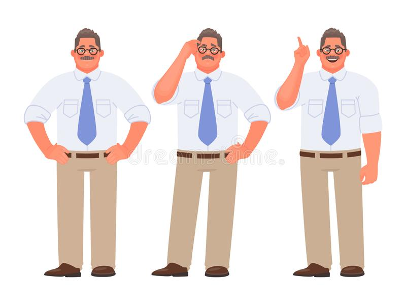 Set charakter pracownik firma lub biznesmen Mężczyzna myśleć, wątpi i rozwiązuje problem royalty ilustracja