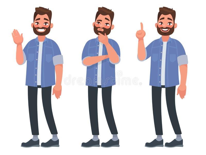 Set charakteru brodaty mężczyzna wita, myśleć i znajduje, solutio royalty ilustracja