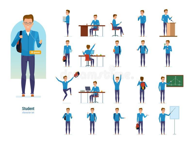 Set charakteru nowożytny uczeń Edukacja i trening ilustracji