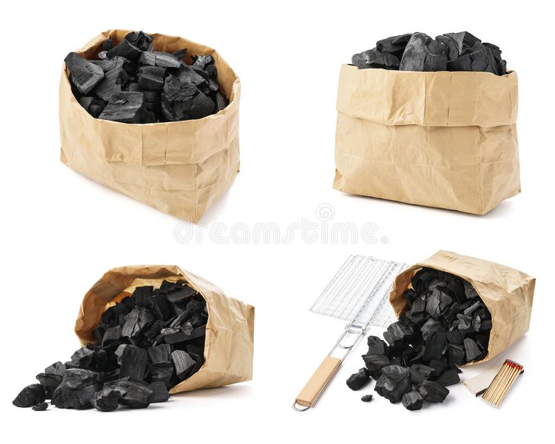 Set of charcoal paper bags shot from different angles. Isolated stock photography