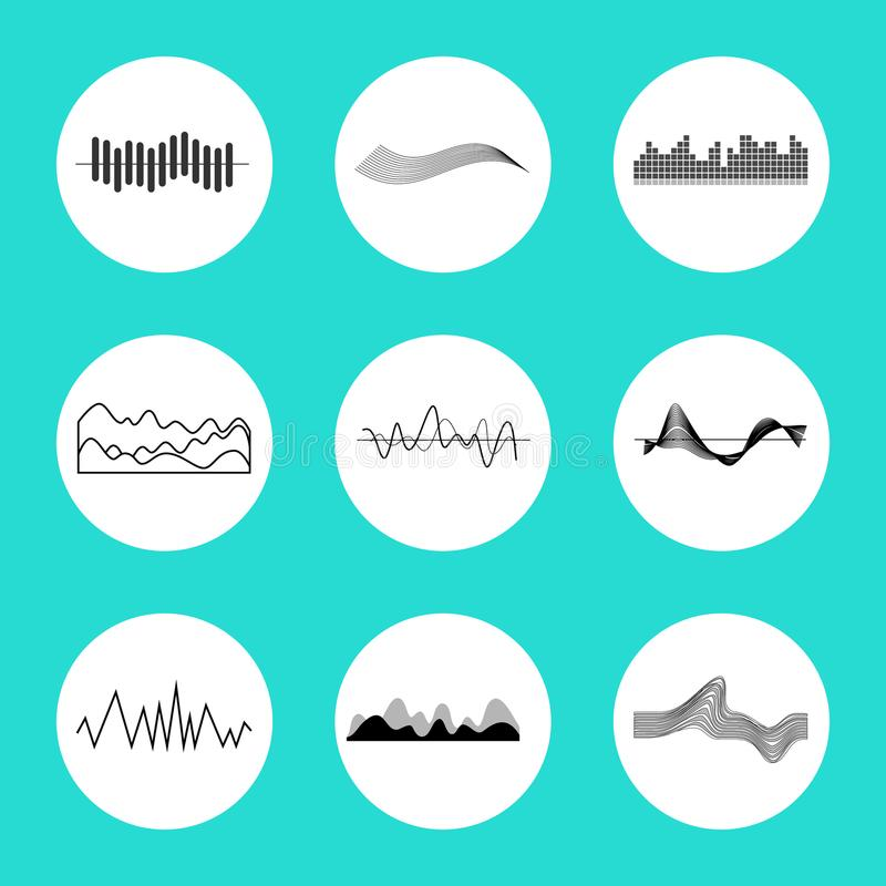 Set of Charts in Circles on Vector Illustration. Set of charts, placed in circles, graphical representation of data, represented on vector illustration isolated vector illustration
