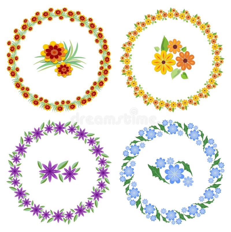 Set of cheerful beautiful multicolored wreaths and flower motifs. Design elements for spring and easter design. Cute vector illustration