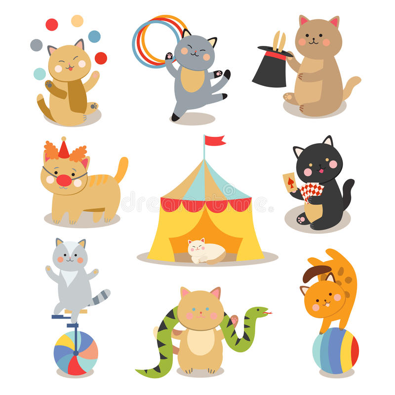 Set of cheerful circus playing cats vector illustration. stock illustration