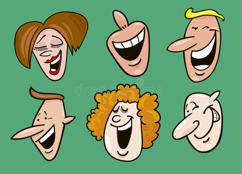 Download Set of cheerful faces stock vector. Image of cartoon - 15280916