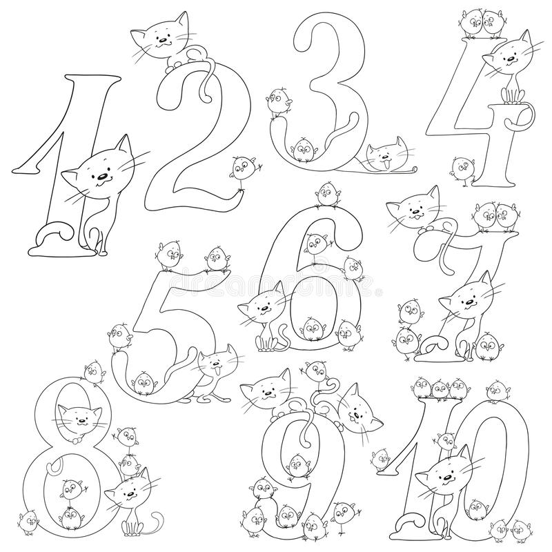 Set of cheerful figures. Cats and chickens. Cheerful greetings. Vector coloring book. royalty free illustration