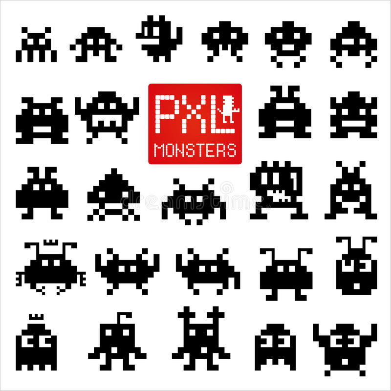 Set of cheerful pixel monsters royalty free illustration