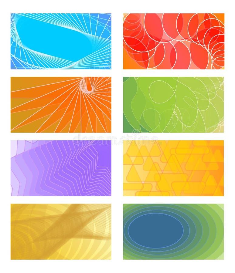 Set of cheerful vector backgrounds for business card, flyer, leaflet, cover. Various color red, orange, light green, violet stock illustration