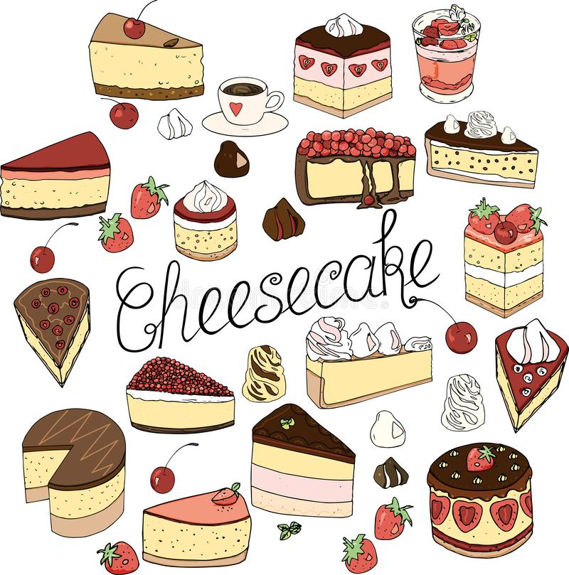 A set of cheesecake elements, cakes and pastries,  doodle set drawn by hand. A set of cheesecake consists of elements of cakes and pastries,  doodle set design royalty free illustration