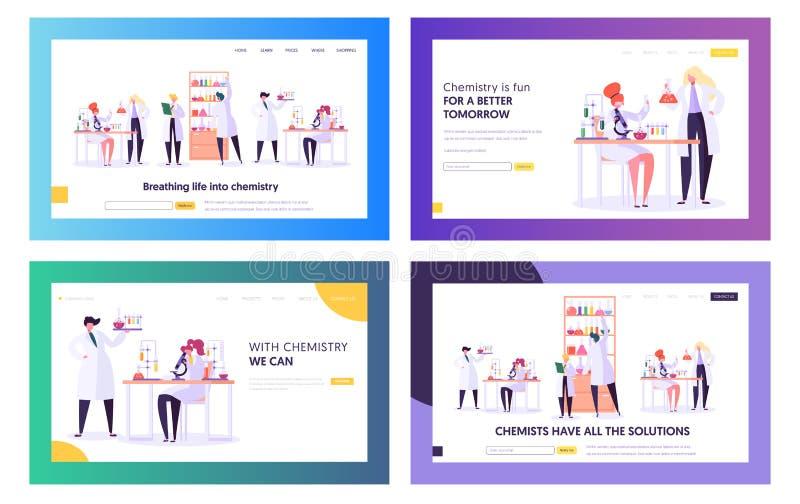Set chemii nauki lądowania strony szablony Naukowów charaktery Pracuje w Medycznym laboratorium Badanie, Bada Używać Lab ilustracji
