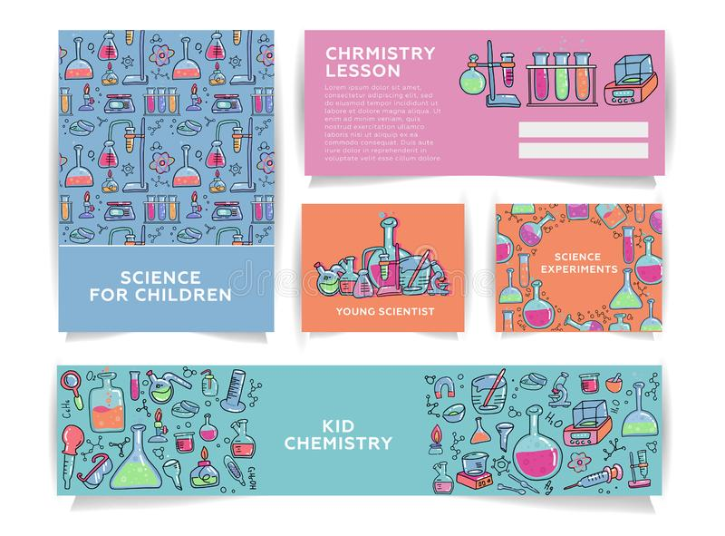 Set of chemistry for kids banner templates. Science for children School research in chemistry. Entertaining chemistry concept in c. Olor doodle vector style vector illustration