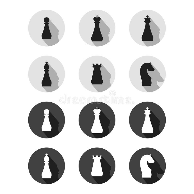 Set Of Chess Game Symbols Stock Vector Illustration Of Black