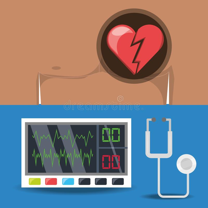 Set chest pain and electrocardiography machine. Illustration vector illustration