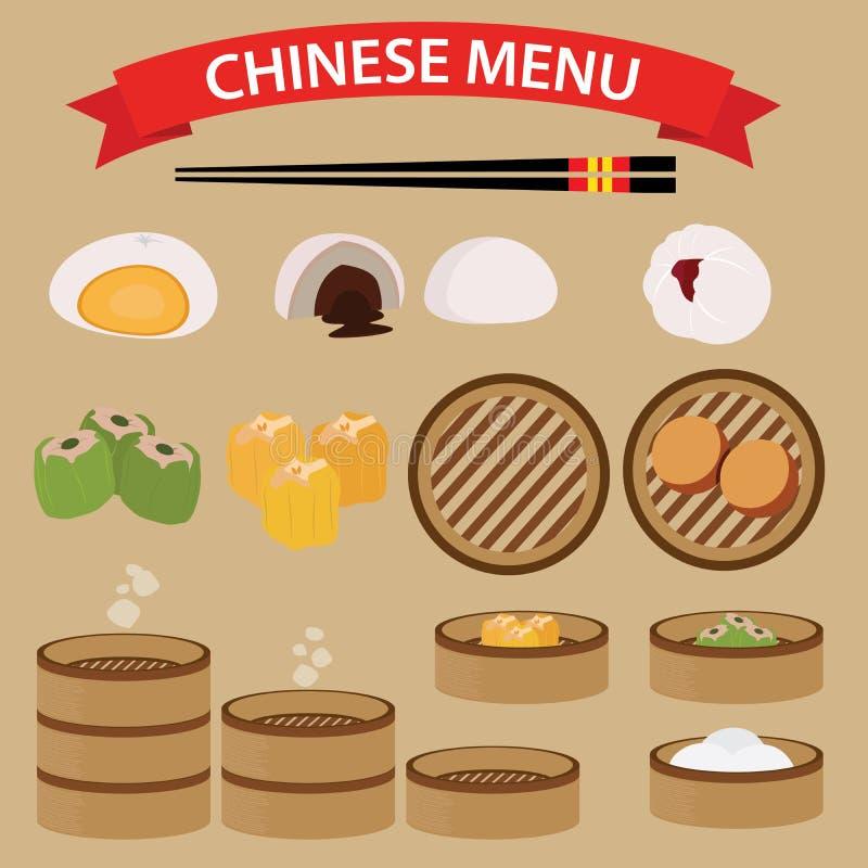 Set Chiński jedzenie i kuchnia royalty ilustracja