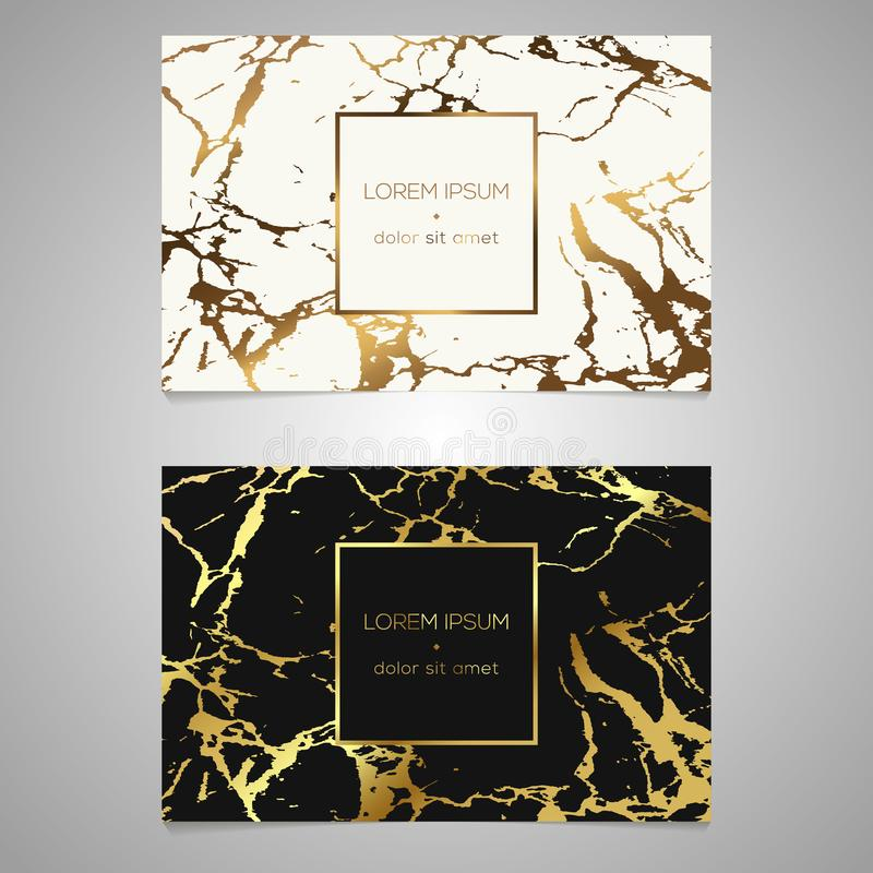 Set of chic and elegant business card with faux gold foil and ma stock illustration