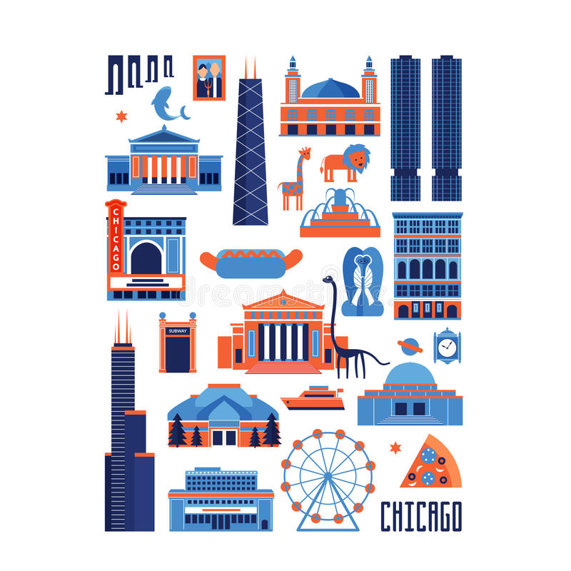 Set of Chicago landmarks in rectangle shape. Blue and red vector set of Chicago' famous landmarks. Flat style designed historic buildings, sightseeing and known royalty free illustration