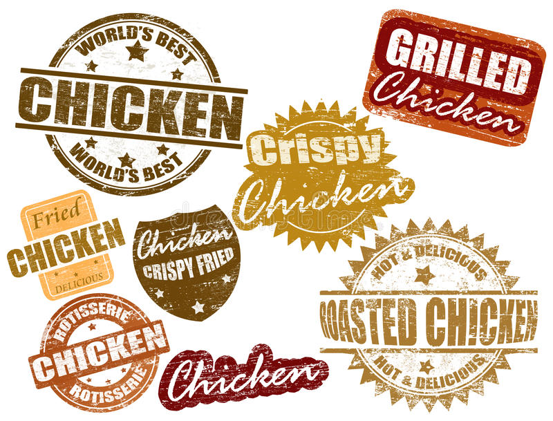 Set of chicken stamp vector illustration