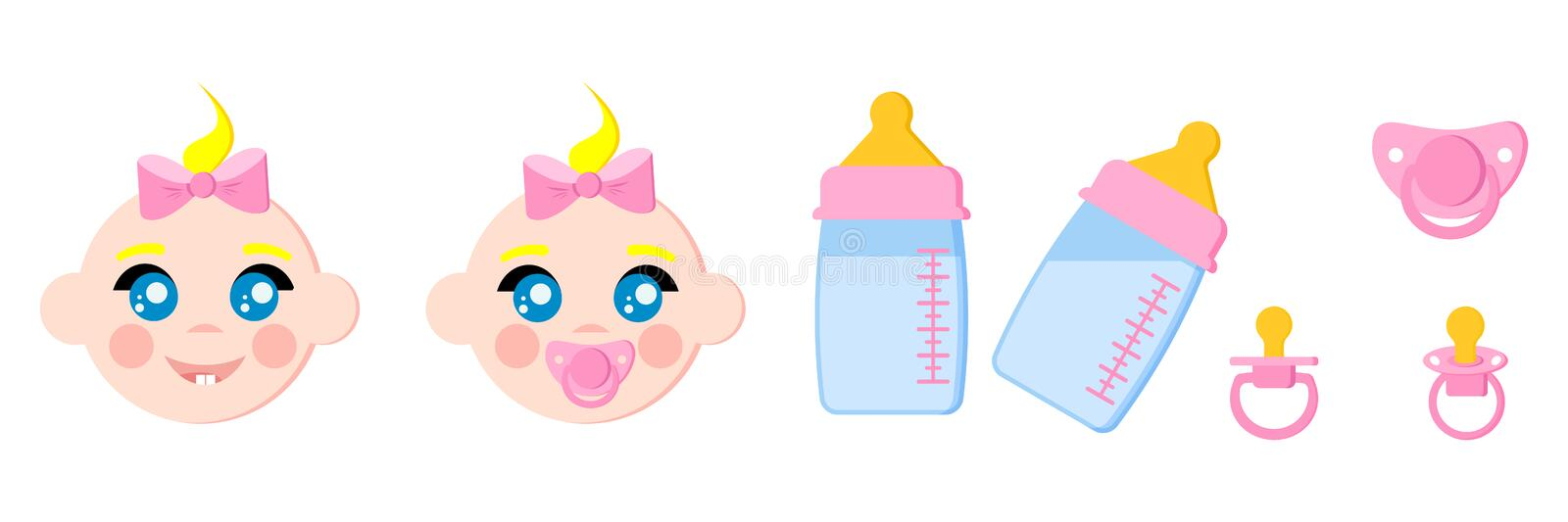 Set of child faces icons, baby bottles with milk, pacifiers baby dummies,nipple thermometer,nibbler royalty free illustration