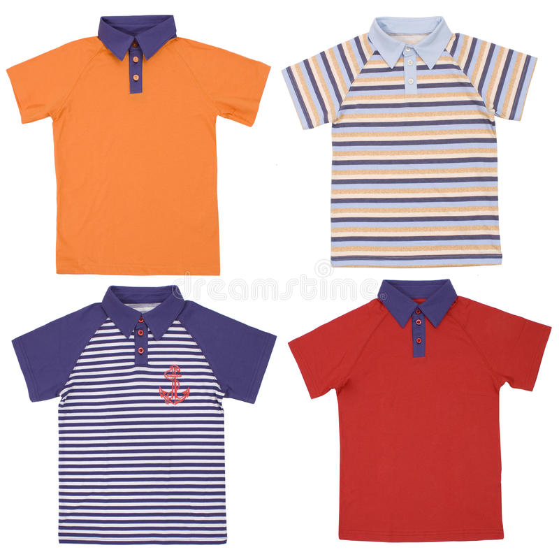 Set of child polo shirts isolated on white. Background royalty free stock photos