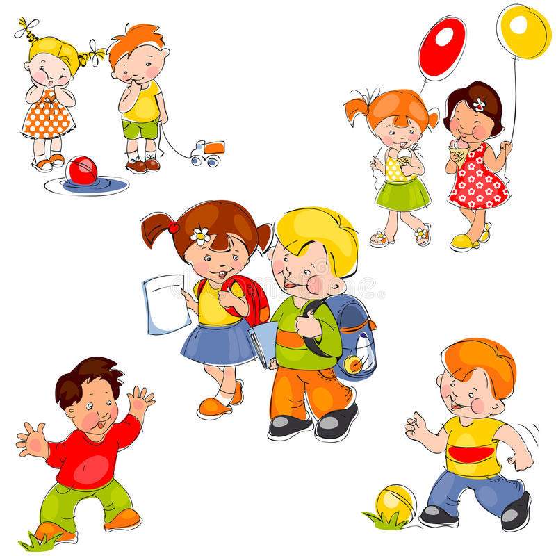 Download Set of children stock vector. Image of education, cheerful - 21403299
