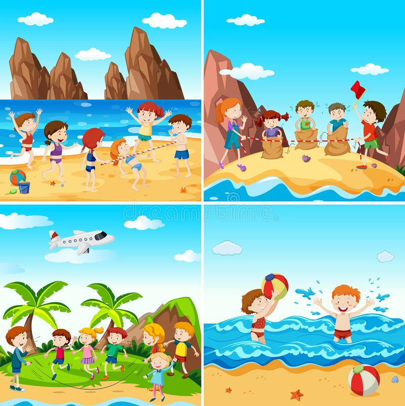 A Set of Children at the Beach royalty free illustration