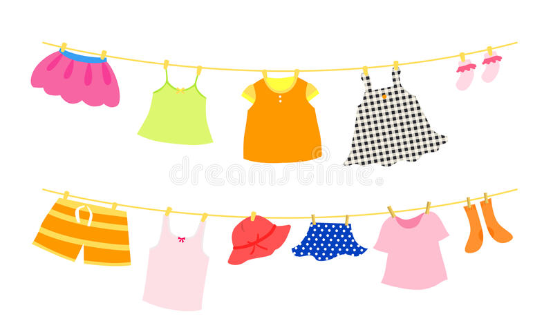 Set of children clothes vector illustration