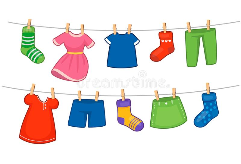 Set of children clothes royalty free illustration