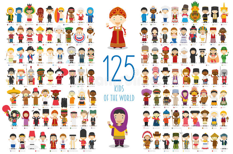 Set of 125 children of different nationalities in cartoon style. royalty free illustration