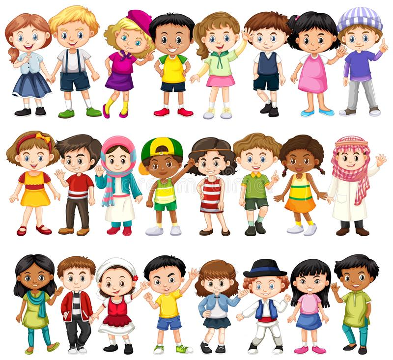 Set of children of different races royalty free illustration