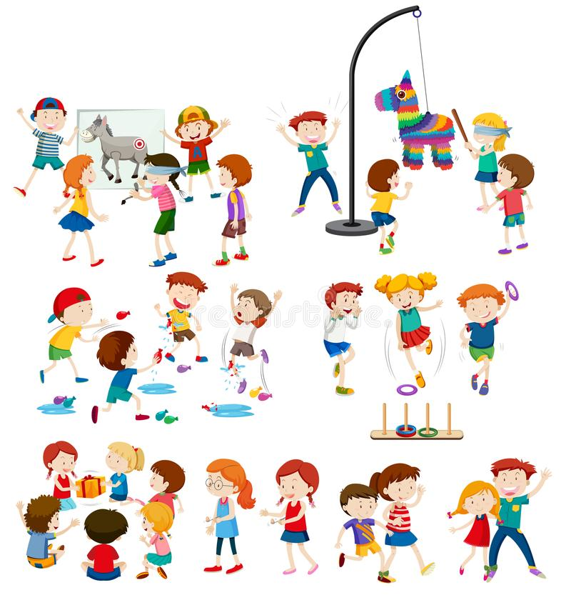 A set children and outdoor activities royalty free illustration