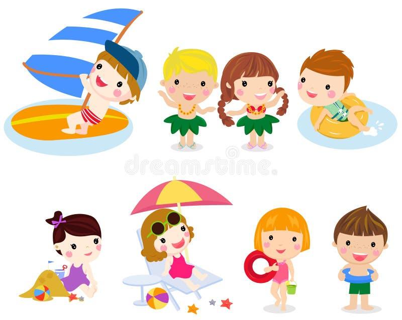 Set of children play on summer holidays stock illustration
