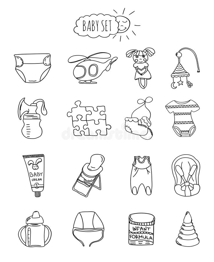 Set of children's items, accessories and toys hand drawn elements doodles. A familyfriendly hotel of icons and elements. Set of children's items, accessories and royalty free illustration